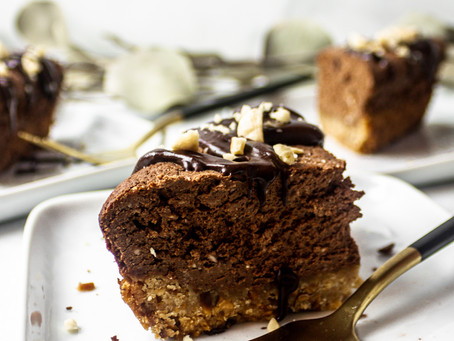 Grain Free Lactose Free Refined Sugar Free Chocolate Hazelnut Cheesecake Bars - A Low FOMAP Dessert