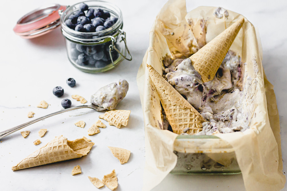 Pretty Delicious Life Dairy Free Blueberry Pie Ice Cream - You guysssss here I go again! I might be a little late in posting this, as I first made this dairy free Blueberry Pie Ice Cream at the peak of blueberry season, but better late than never, right?! I've been developing so many recipes lately