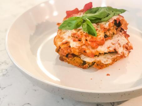 Vegan, Low FODMAP Eggplant Parmesan using The Vegg Power Scramble