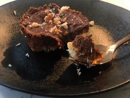 Paleo Chocolate Ganache Tarts with Coconut Macaroon Crust