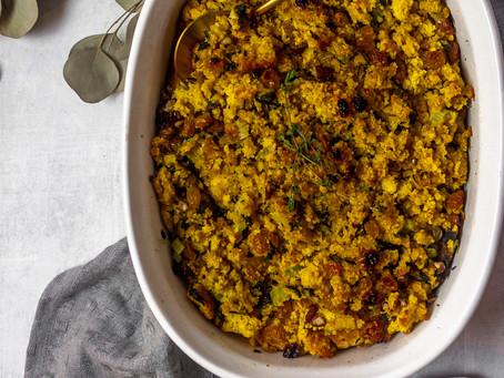 Gluten Free Low FODMAP Friendly Cornbread Stuffing - A Low FODMAP Thanksgiving Side Dish