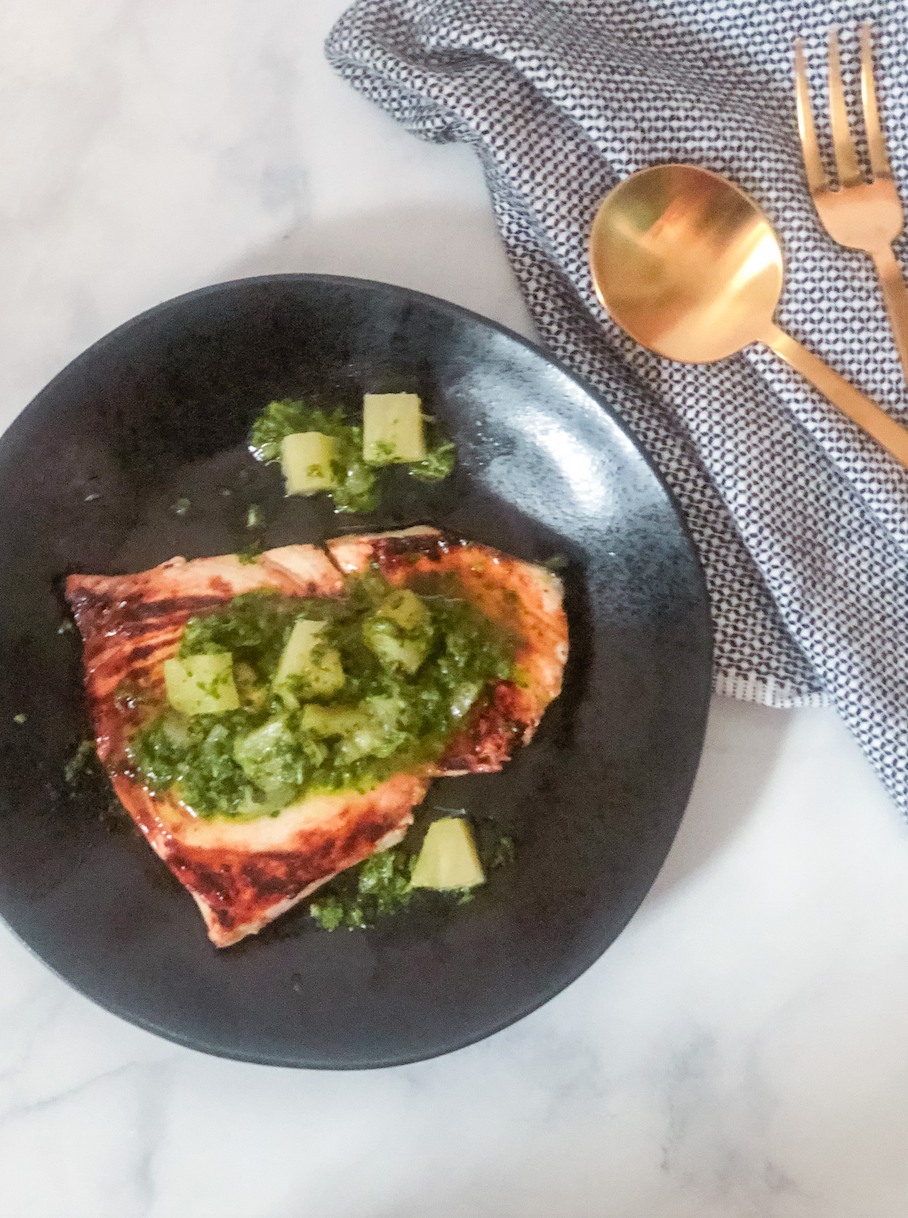 Pretty Delicious Life Grilled Swordfish with Low FODMAP Pineapple Chimichurri
