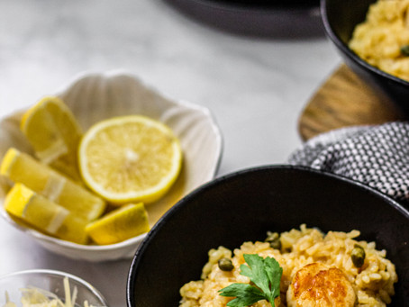 Low FODMAP Lemon Caper Scallop Risotto