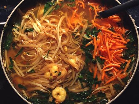 One Pot Low FODMAP Shrimp & Ginger Pho