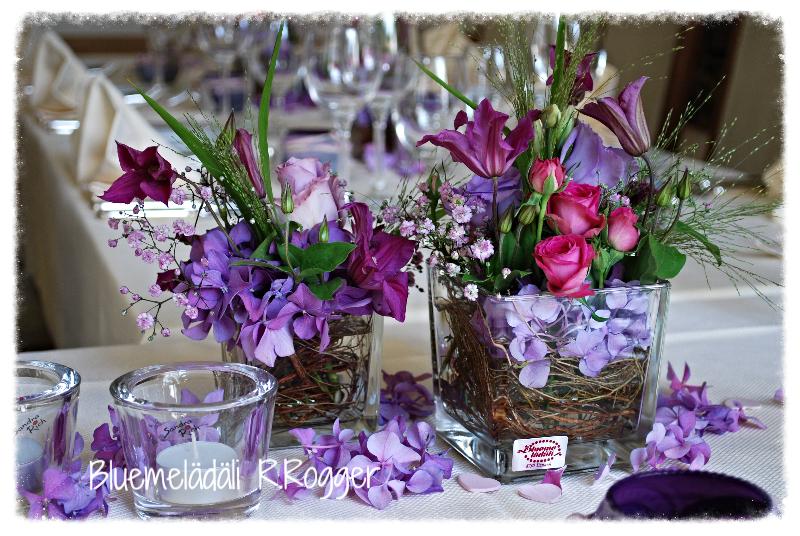 romantische Glasfüllung in lila-pink