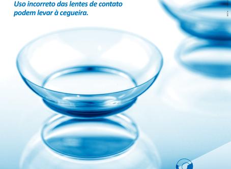 Ceratite Bacteriana. Uso incorreto das lentes de contato podem levar à cegueira.