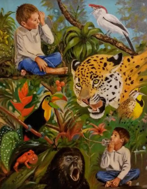 """Tela de Regina Macedo, com diversos animais silvestres, feita para o evento """"Comunicação Acústica: uma abordagem interdisciplinar"""""""