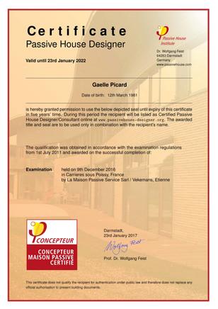 Maison passive : GAP est certifié !