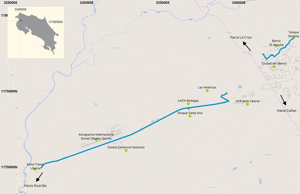 mapa de ubicación ,acueducto Liberia