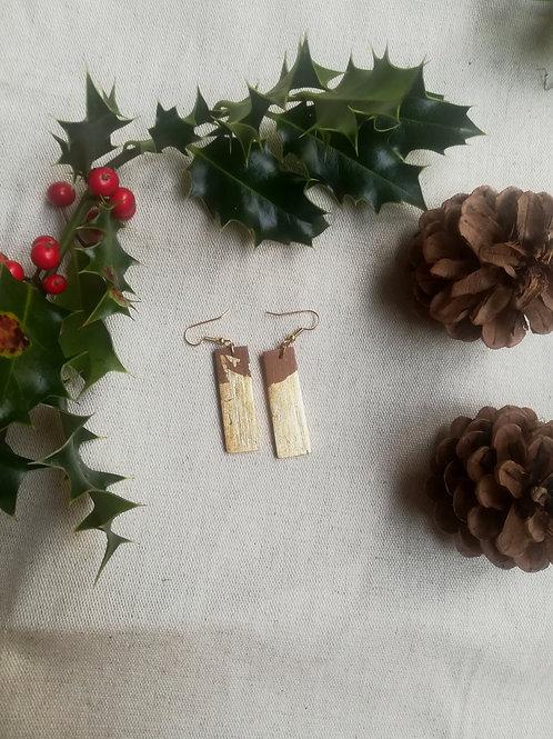 Boucles d'oreille rectangle en bois massif doré