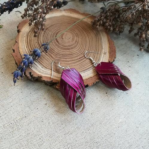 Boucles d'oreilles en paille de seigle violette