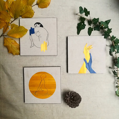 Tryptique de  tableaux autour du corps de la femme