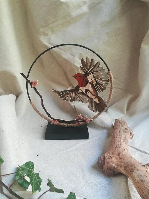 Tableau Beskides - Vol du rouge gorges et branche de cerisier