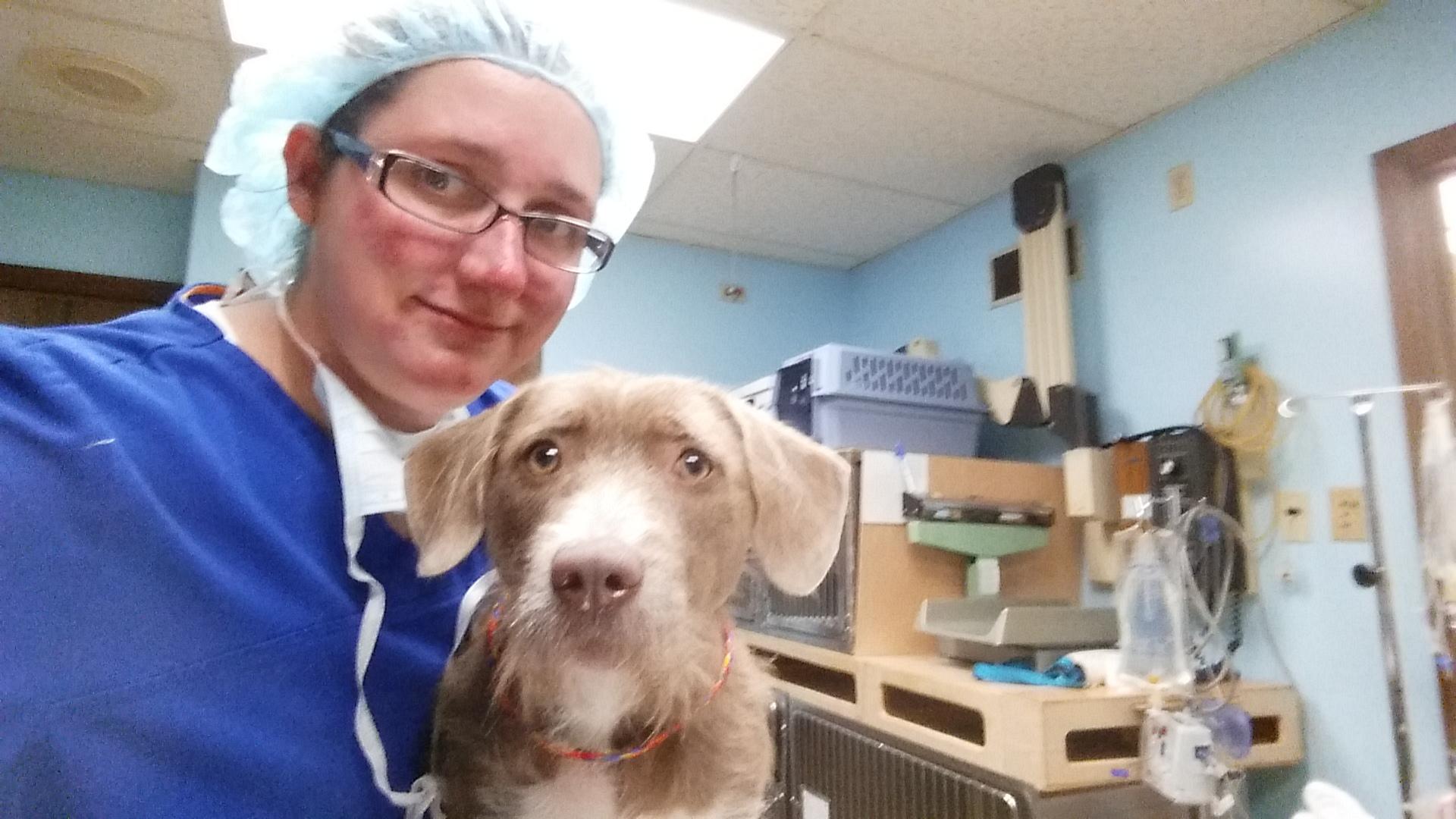 Cynthia & shelter dog