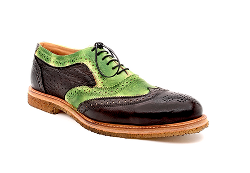 The Stefano 1 - Black Ostrich & Green