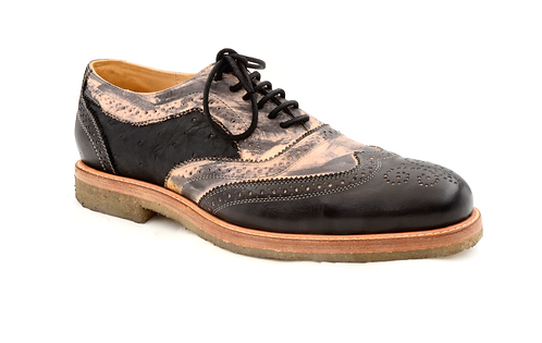 The Stefano 1 - Black Ostrich & Mottled