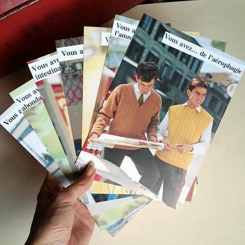 Lot de 7 cartes postales - Restez chez vous
