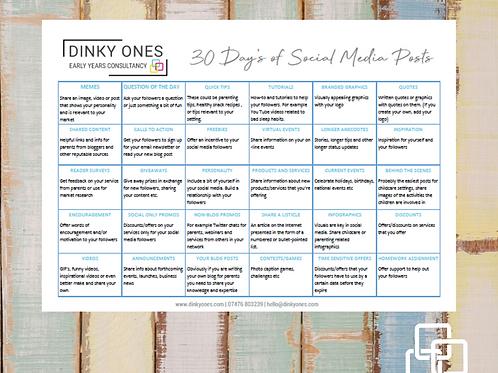 30 Days of Social Media Posts