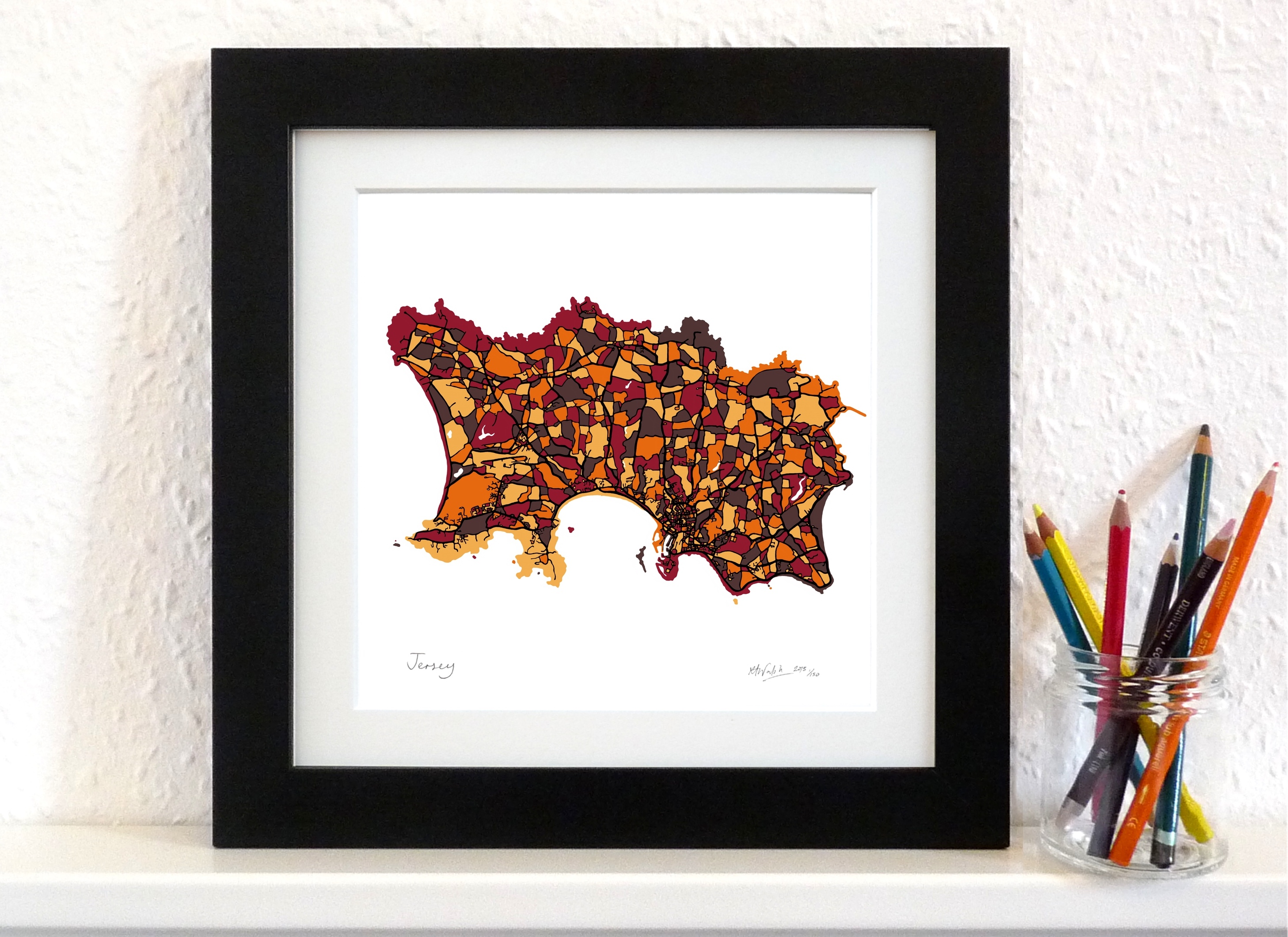 Jersey Art Map - Orange - Square