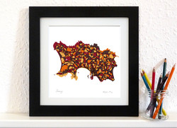 Jersey Art Map - Orange - Square