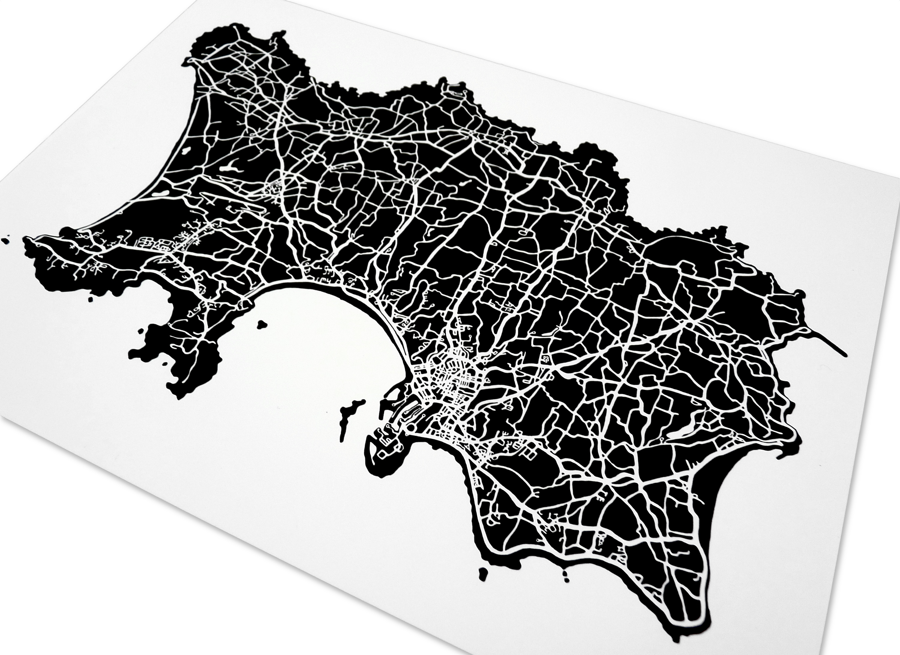 Jersey Art Map - Black - Detail