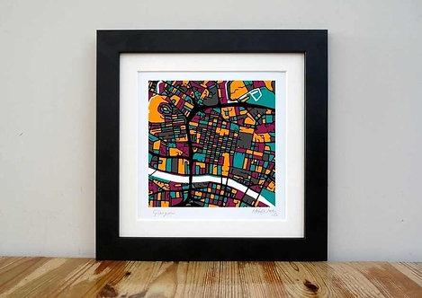 """Glasgow Map - 8""""x 8"""""""