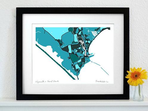 WEYMOUTH & CHESIL BEACH ART MAP PRINT