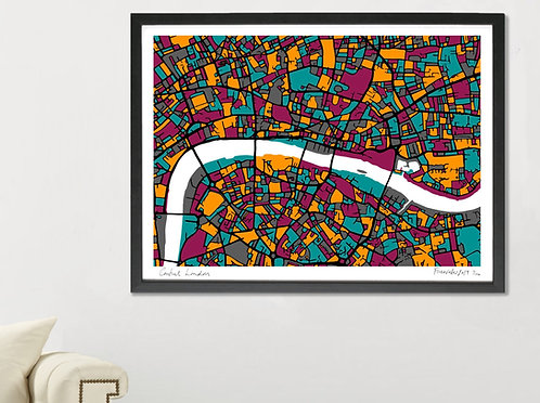 CENTRAL LONDON ART MAP PRINT