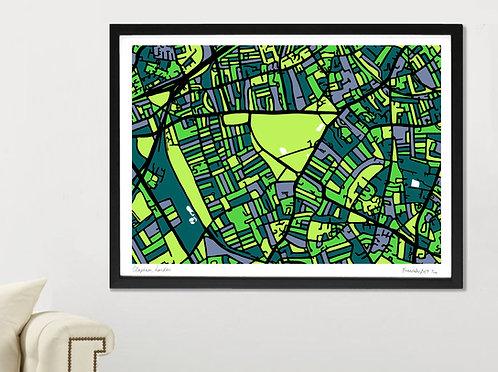 CLAPHAM, LONDON ART MAP PRINT