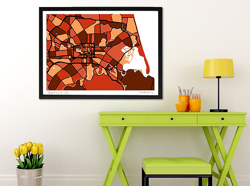 CHRISTCHURCH, NEW ZEALAND ART MAP PRINT