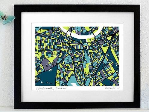 WANDSWORTH, LONDON ART MAP PRINT