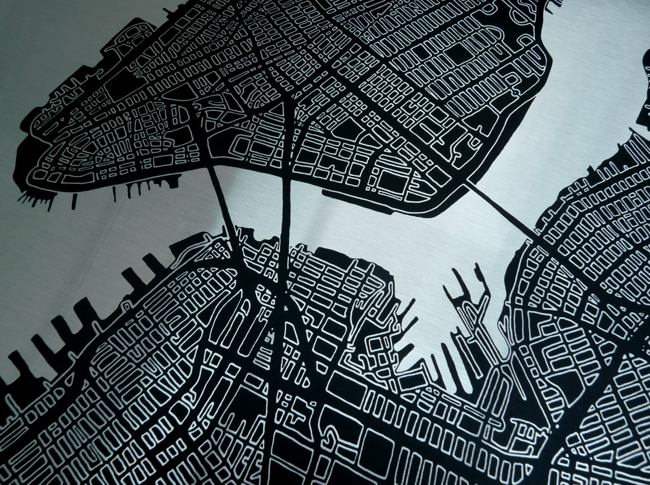 New York Metal Map Detail