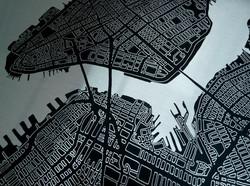 New York Metal Map Detail