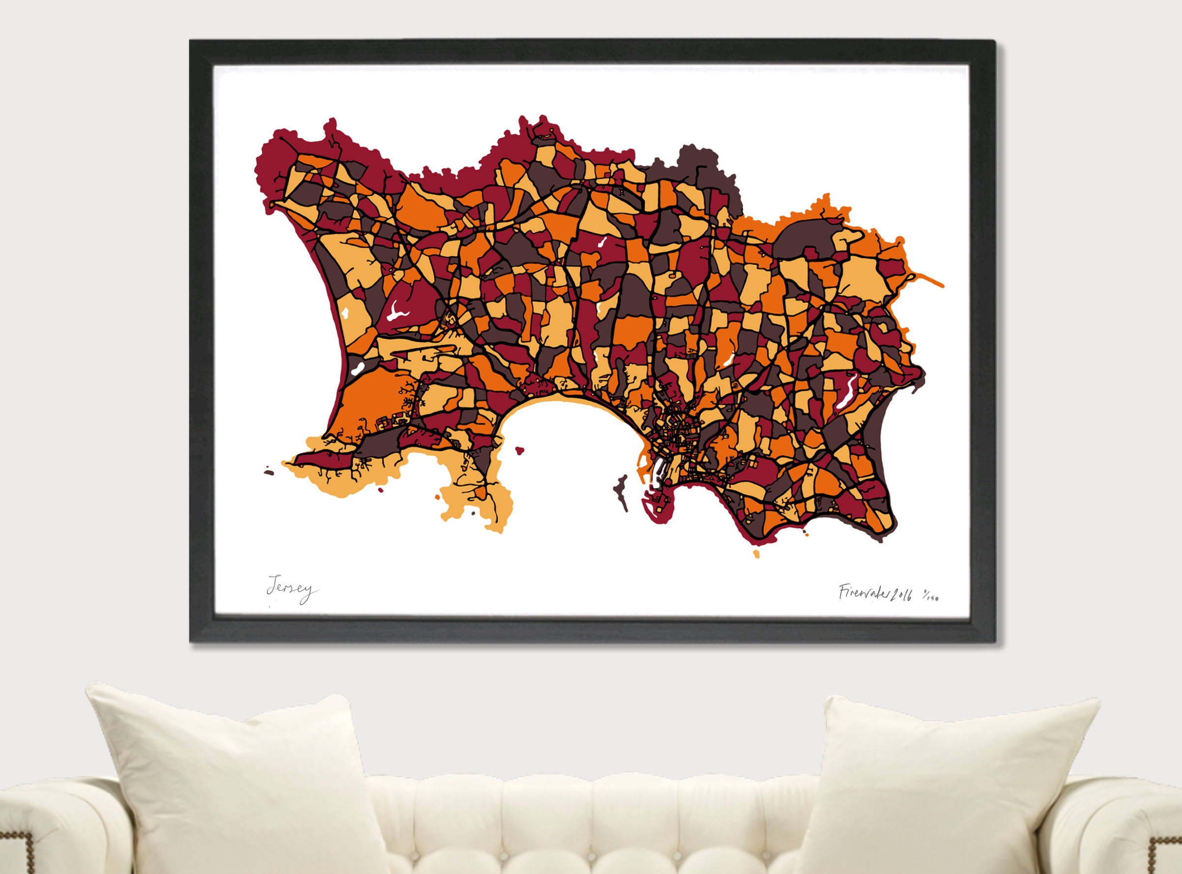Jersey Art Map - Orange - A1 & A2