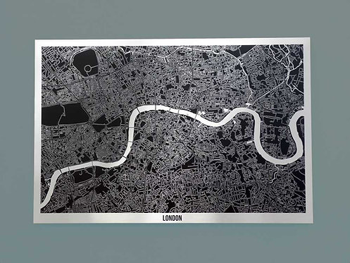 London Aluminium Art Map 60 x 40cm