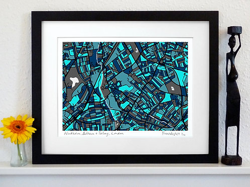 WIMBLEDON, BALHAM & TOOTING, LONDON ART MAP PRINT