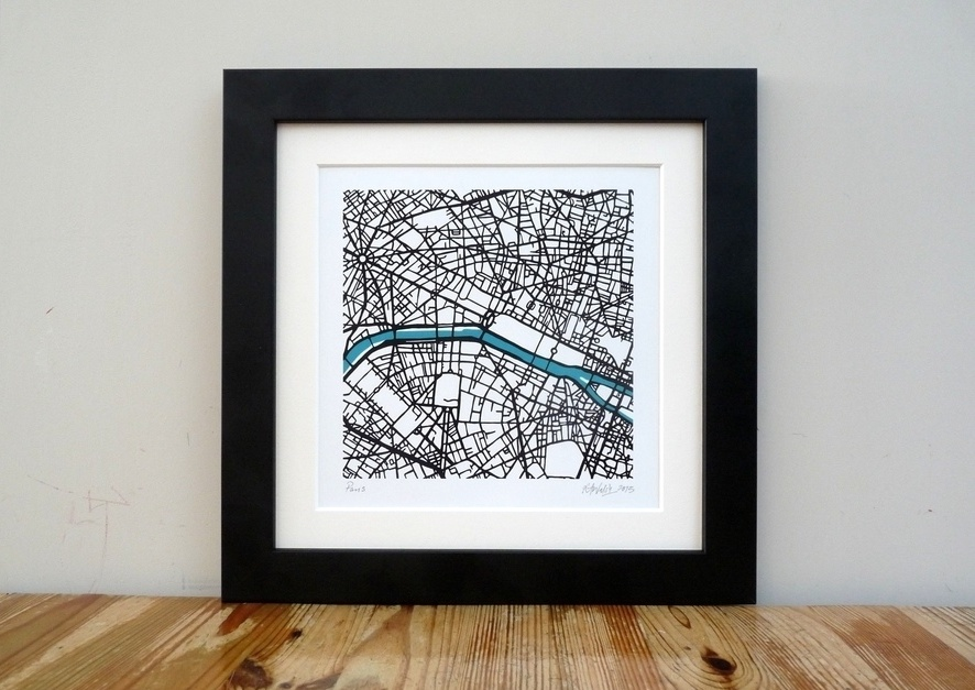 "Paris - Art Map - 8""x 8"""