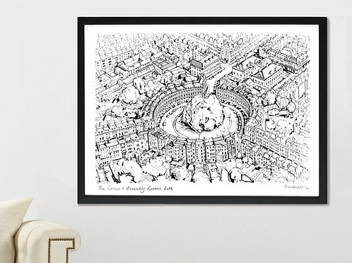 THE CIRCUS & ASSEMBLY ROOMS, BATH LANDSCAPE PRINT