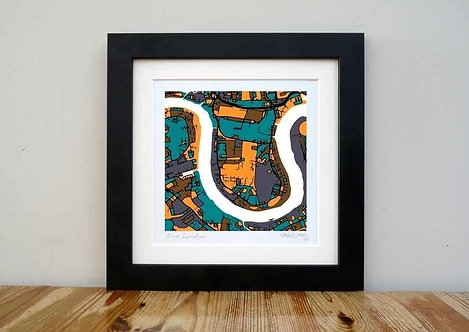 "East London Map - 8""x 8"""