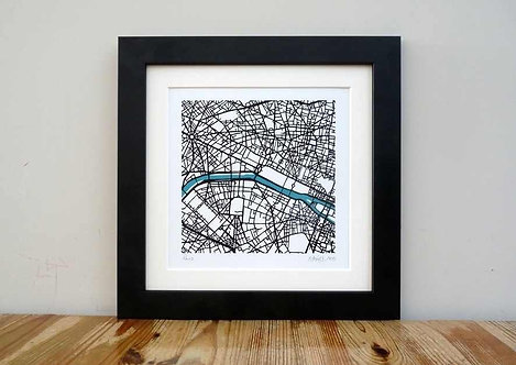 "Paris Map - 8""x 8"""