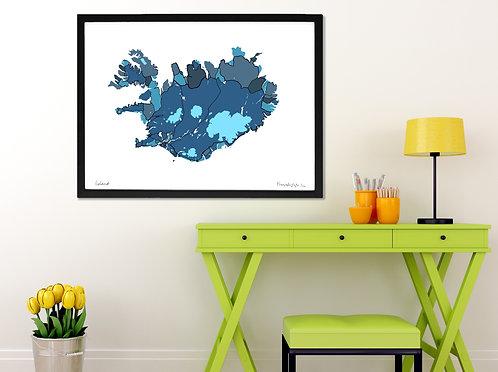 ICELAND ART MAP PRINT