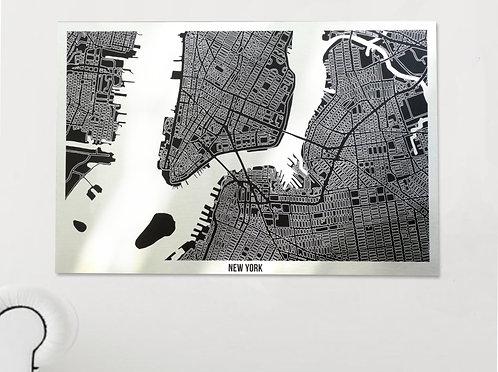 NEW YORK BRUSHED ALUMINIUM ART MAP