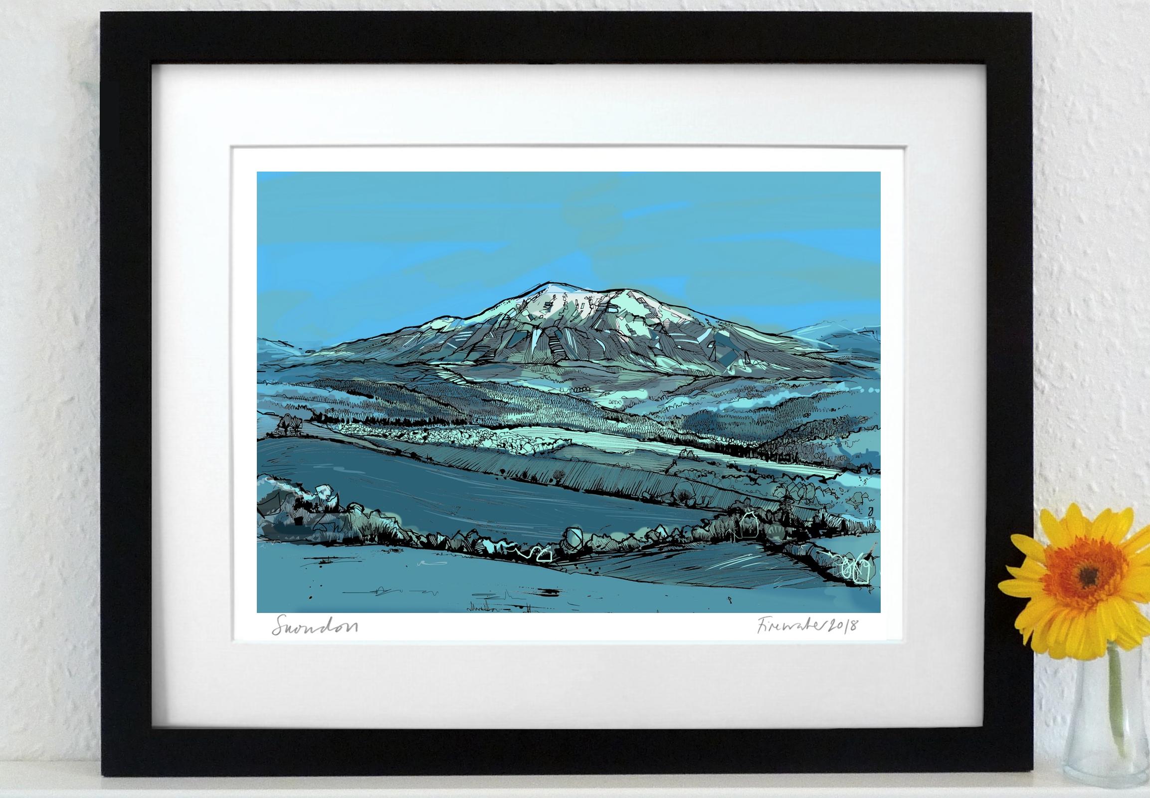 Snowdon Art Print - Blue