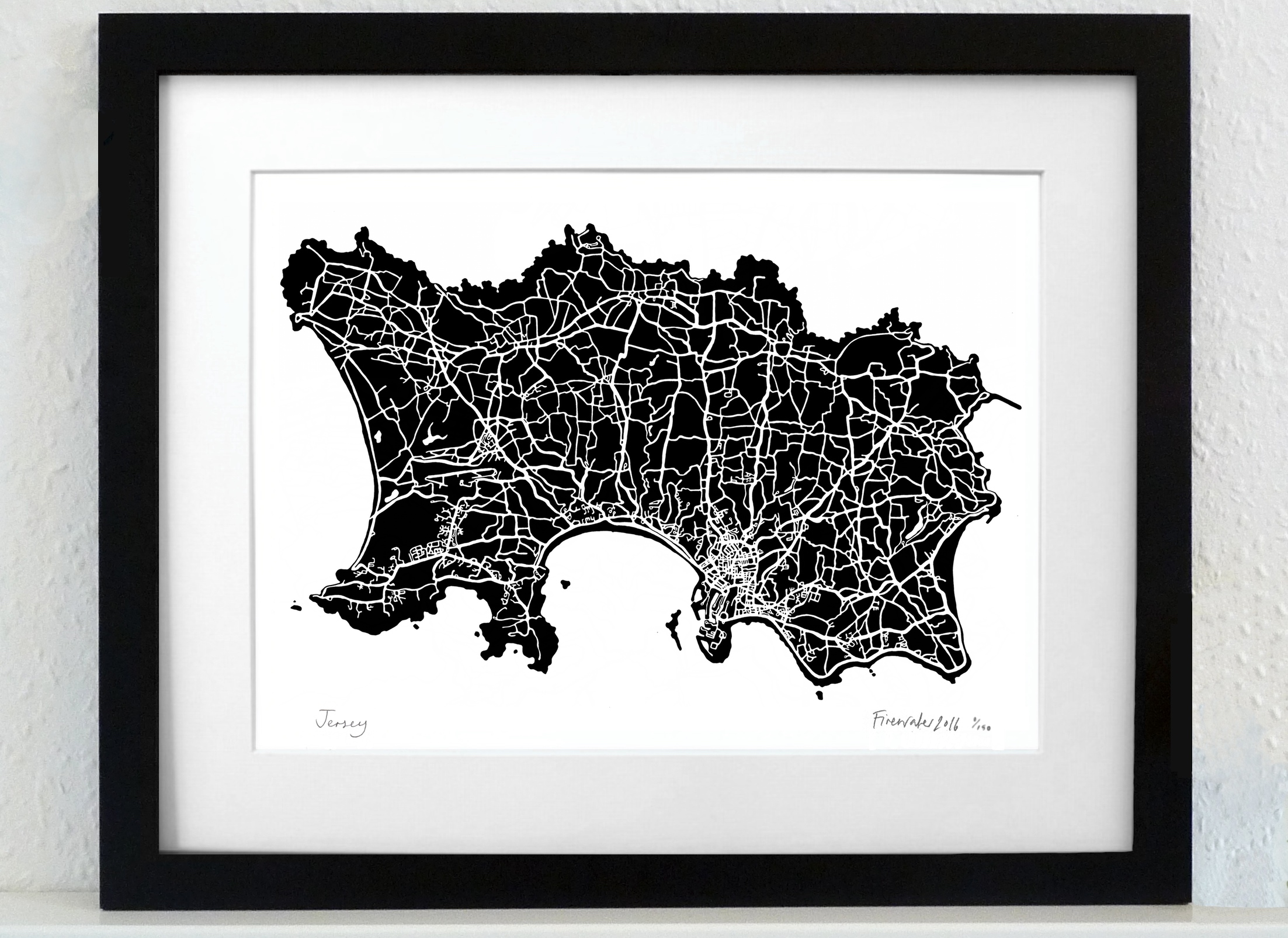 Jersey Art Map - black - A3 & A4