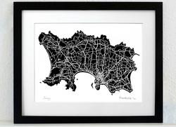 Jersey Art Map - black - A3 & A4