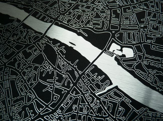 London Metal Art Map Detail