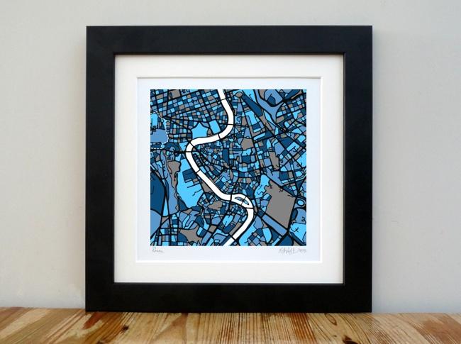 "Rome - City Art Map - 8""x 8"""