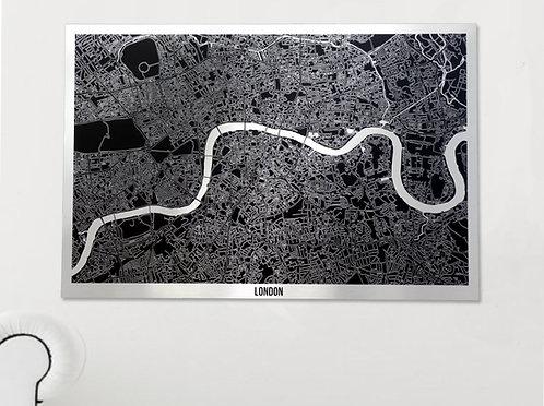 LONDON BRUSHED ALUMINIUM ART MAP