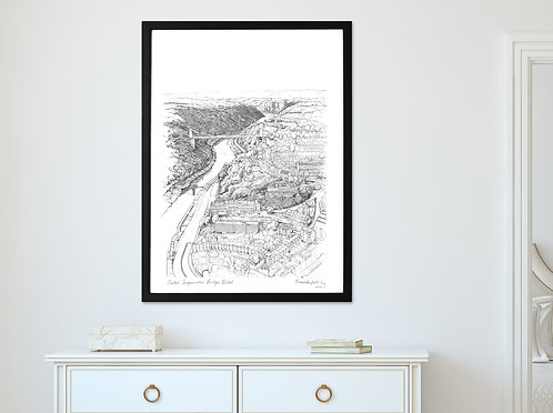 CLIFTON SUSPENSION BRIDGE, BRISTOL LANDSCAPE PRINT - VERSION 1