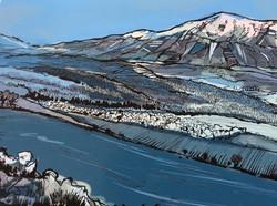 Snowdon Art Print - Blue - Detail